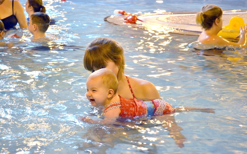 Mum and baby in swimming pool
