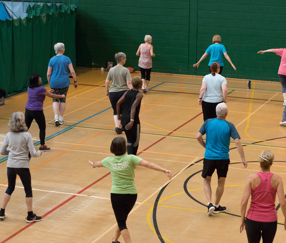 Older adults in fitness class